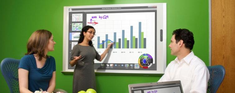 板依仗电脑的强大沟通能力及自身互动技术注解,可以方便使用者直接在面板中自由调动资源,可以通过投影机投射出电脑中的显示内容