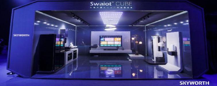 """3月27日,以""""奔向未来""""为主题的创维电视2019春季发布会在北京举行,创维正式对外发布了全球首个大屏AIoT生态——创维Swaiot™、以及第一款大屏AIoT生态中心Swaiot™ CENTER—创维Q80系列电视"""